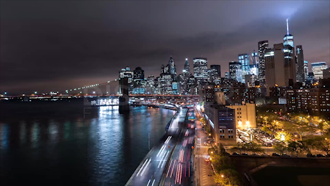 New York: Fidi From Manhattan Bridge Night