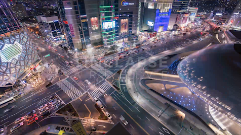 Time-lapse Seoul: Dongdaemun Intersection Night