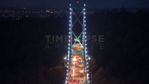 Time-lapse Vancouver: Lions Gate Bridge Night