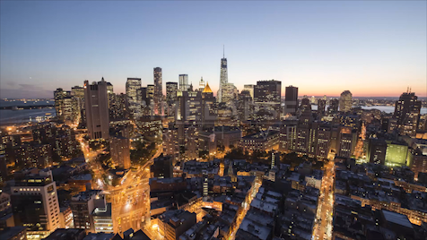 Time-lapse New York: Financial District Day To Night