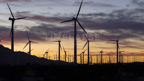 Time-lapse Palm Springs: Wind Farm Blue Hour
