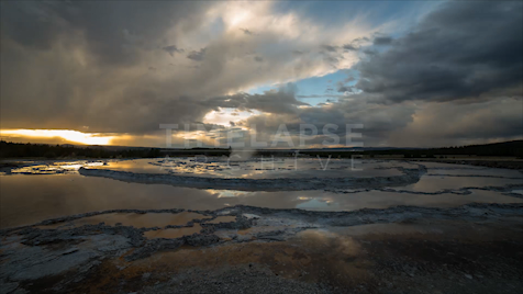 Time-lapse Yellowstone: Great Fountain Sunset