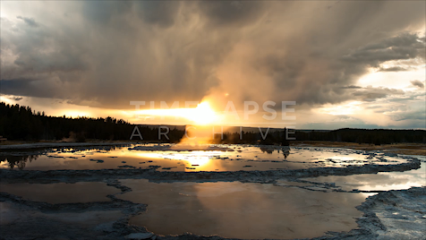 Time-lapse Yellowstone: Great Fountain Steam Sunset