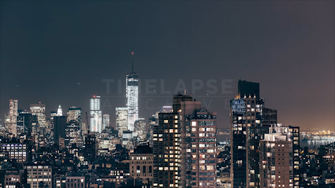 Time-lapse New York: FiDi At Night From Midtown