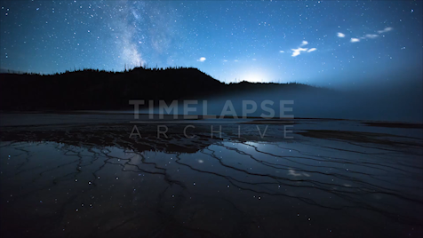Time-lapse Yellowstone: Grand Prismatic Moonset