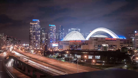 Time-lapse Toronto: Dome Close From Gardiner At Night