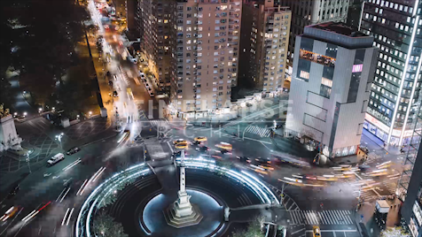 Time-lapse New York: Columbus Circle At Night (CU)