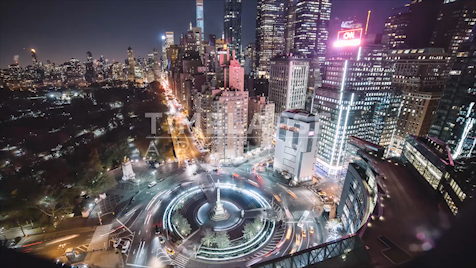 Time-lapse New York: Columbus Circle At Night (Wide)