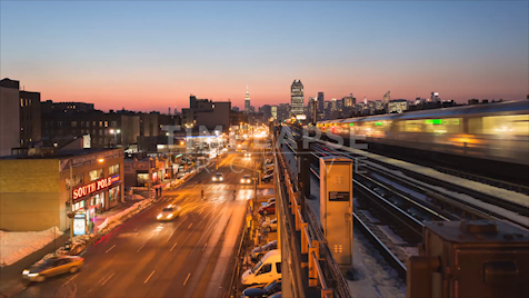 Time-lapse New York: Queens 46th Street Station Night