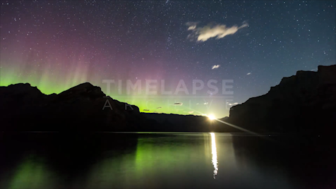 Time-lapse Banff: Aurora Lake Minnewanka Sunrise