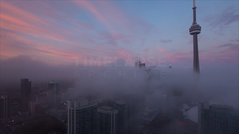 Time-lapse Toronto: City Fog & Pink Clouds