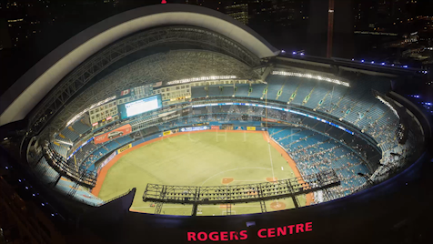 Time-lapse Toronto: Dome Close From Above Night
