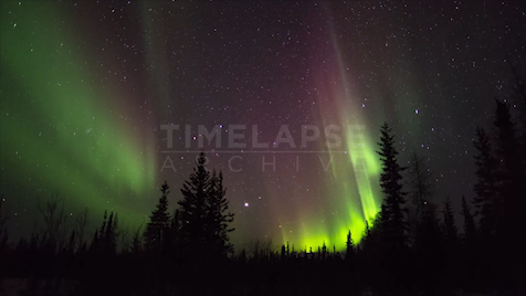 Time-lapse Northwest Territories: Aurora Purple & Green