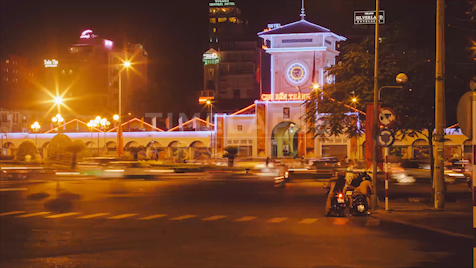 Time-lapse Ho Chi Minh City: Ben Thanh Market Night