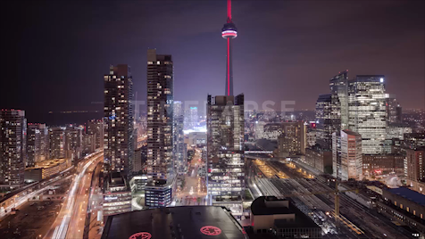 Time-lapse Toronto: Dome Close At Night From The ACC