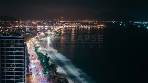 Time-lapse Nha Trang: Coastline At Night