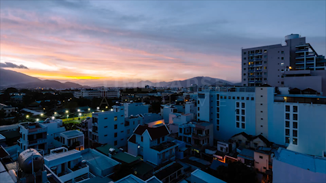 Time-lapse Nha Trang: Dusk To Night Mountain View
