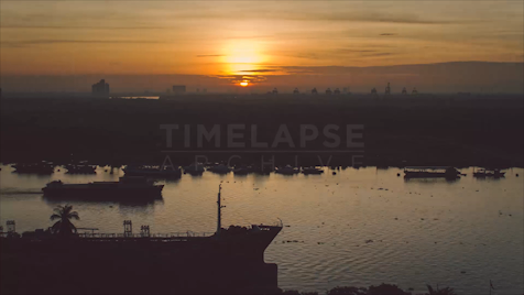 Time-lapse Ho Chi Minh City: Saigon River Sunrise