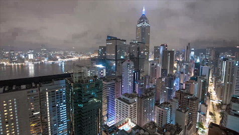 Time-lapse Hong Kong: Central Rooftop Night Pan