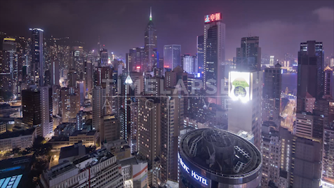 Time-lapse Hong Kong: Central District Rooftop Night