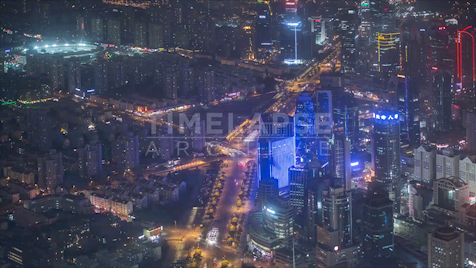 Time-lapse Shanghai: Rooftop Caoxi N Road At Night