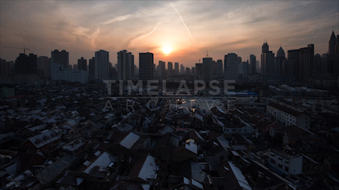 Time-lapse Shanghai: Old City Skyline Sunset