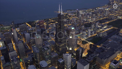 Chicago: Aerial Dusk Wide 3