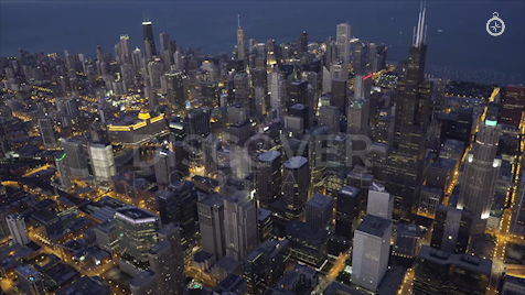 Chicago: Aerial Dusk Wide 4