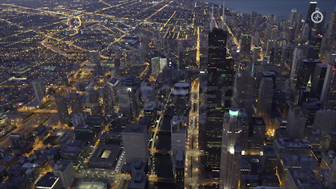 Chicago: Aerial Dusk Wide 5