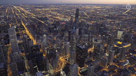 Chicago: Aerial Dusk Wide 7