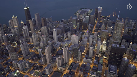 Chicago: Aerial Dusk Wide 8