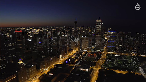 Chicago: Aerial Dusk Wide 13