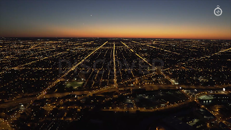 Chicago: Aerial Dusk Wide 21