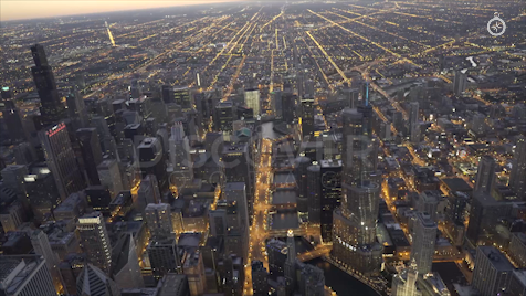 Chicago: Aerial Dusk Wide 23