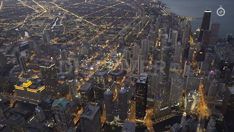 Chicago: Aerial Dusk Wide 25