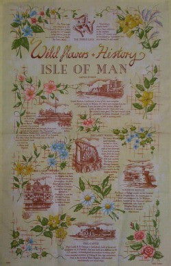 Isle of Man Tea Towel - Wildflowers and History