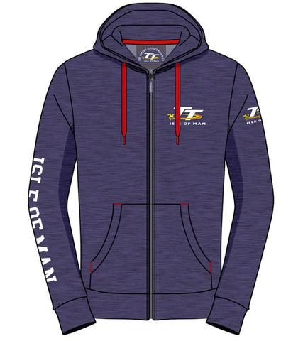 Official Isle of Man TT Hoodie Zip Denim Blue AH2