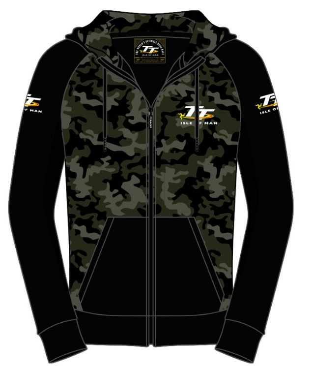 Official Isle of Man TT Hoodie Zip Camo AH5