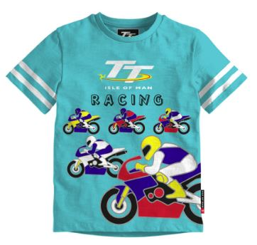 Official Isle of Man TT Baby T-shirt Turquoise Bikes BTS4