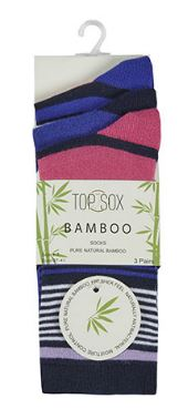Ladies Bamboo Striped Ankle Socks 3 Pack