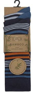 Mens Bamboo Striped Ankle Socks 3 Pack