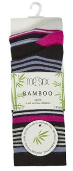 Ladies Bamboo Striped Mix Ankle Socks 3 Pack