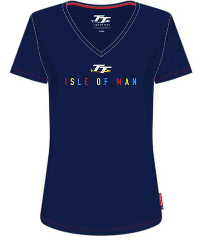 Official Isle of Man TT Ladies T-shirt V-Neck LTS10
