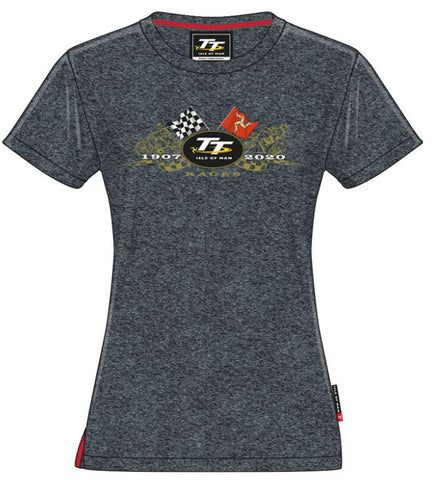 Official Isle of Man TT Ladies T-shirt Cross Flags LTS1