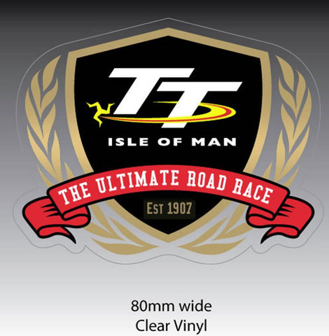 Official Isle of Man TT Sticker- Gold Laurel Vinyl