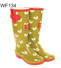 Hawkins Rubber Wellington Boot - Chicken Print on Green WF134