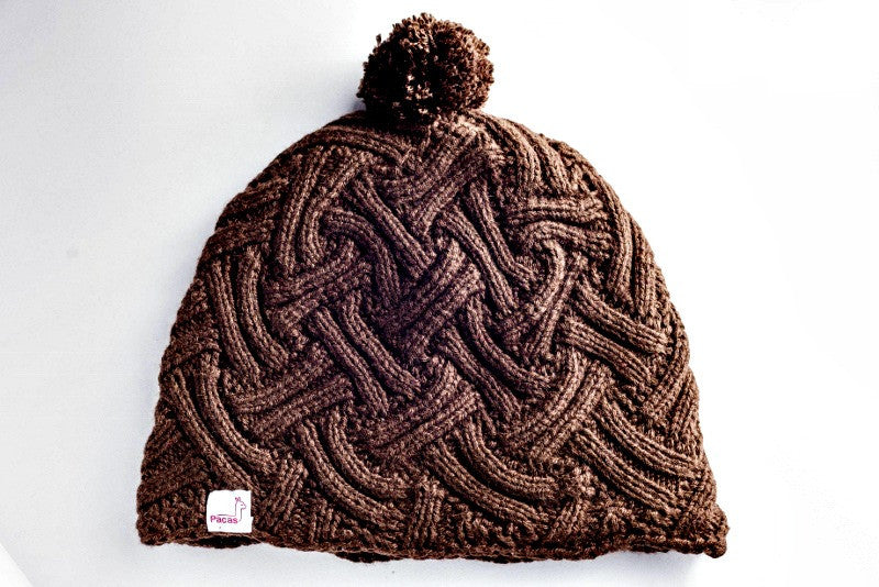 Chocolate Pom Pom Pacas Hat