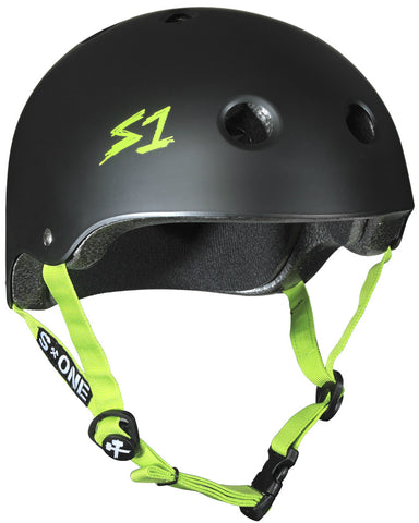 S1 Lifer Helmet - Black Matte w/ Bright Green Straps