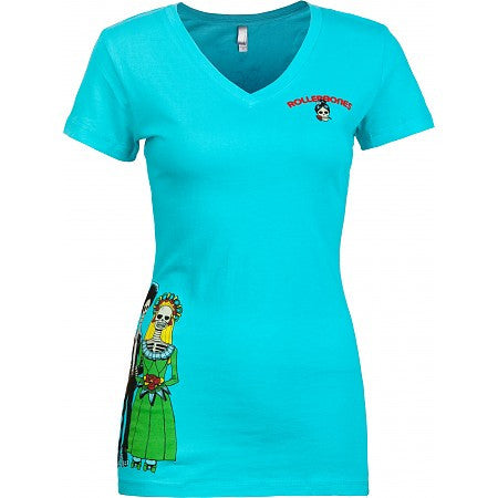 Rollerbones Ladies T-shirt Day of Dead Wedding (Turquoise)