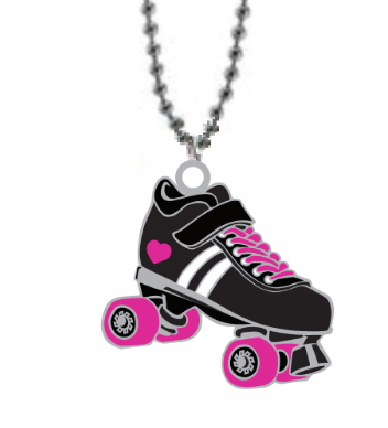 Derby Love Skate Necklaces (Pink Glitter)
